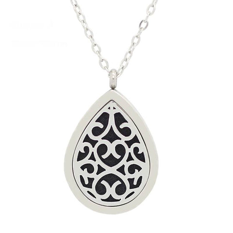 Tear Drop Design Aromatherapy Essential Oil Diffuser Necklace Silver - Free Chain - Gift Idea