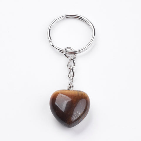 Tiger Eye Crystal Gemstone Puff Heart Key Chain - Balance, Willpower, Courage and Clear Thinking - Crystal Healing
