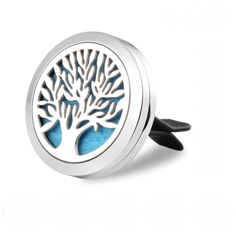 Tree of Life Aromatherapy Essential Oil Car Diffuser - Silver 30mm - Valentine's Day Gift