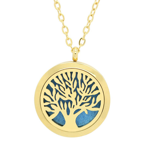 Tree of Life Aromatherapy Essential Oil Diffuser Necklace - 14k Gold Plate - Free Chain - Gift  Idea