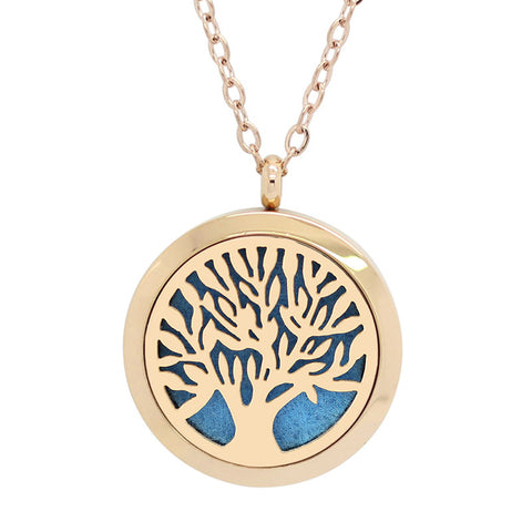 Tree of Life Aromatherapy Essential Oil Diffuser Necklace - Rose Gold Plate - Free Chain - Gift Idea