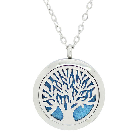 Tree of Life Aromatherapy Essential Oil Diffuser Necklace - Silver- Free Chain - Gift Idea