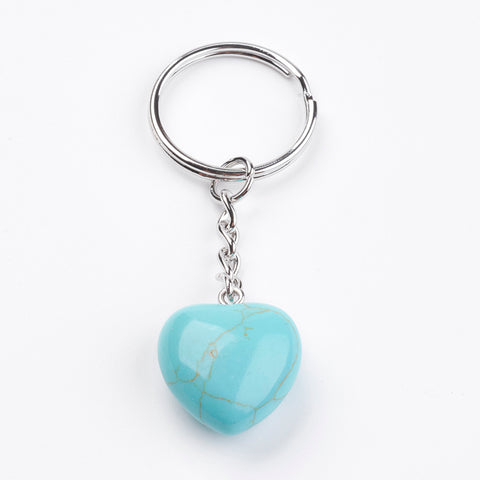 Turquoise Crystal Gemstone Puff Heart Key Chain - Communication, Release and Protection