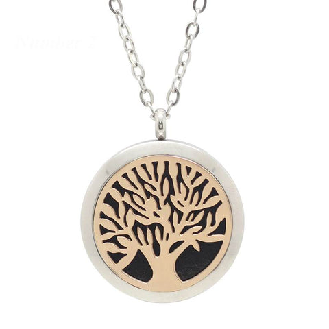 Tree of Life Aromatherapy Essential Oil Diffuser Necklace - Two Tone - Free Chain