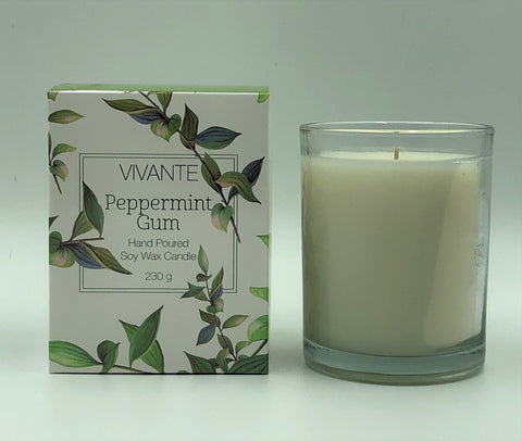 VIVANTE Australiana Peppermint Gum Aromatherapy Soy Candle 230g - The Holistic Shop in Wagga Wagga