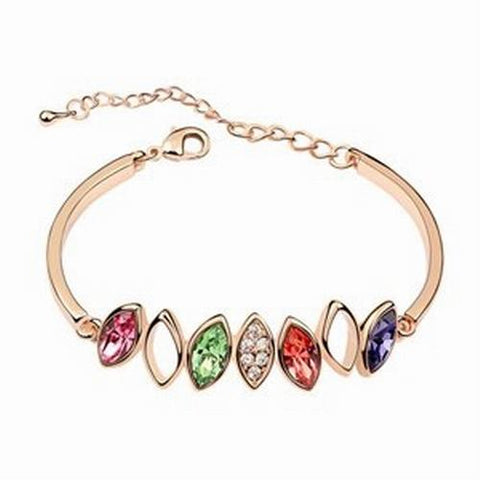 Diamond Crystal Bangle Bracelet - Multi Coloured - 18k Gold Plate - made with Swarovski Crystal Elements - Gift idea