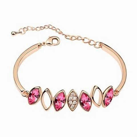 Diamond Crystal Bangle Bracelet - Rose Red - 18k Gold Plate - made with Swarovski Crystal Elements - Gift idea