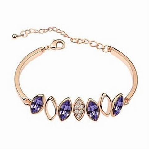 Diamond Crystal Bangle Bracelet - Violet - 18k Gold Plate - made with Swarovski Crystal Elements - Gift idea