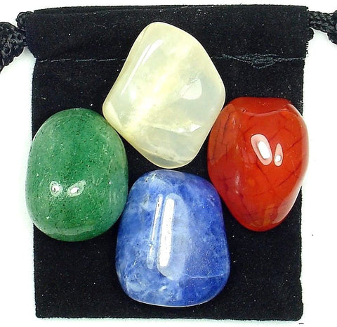 Weight Loss Success Tumbled Stone Crystal Healing Set with Velvet Pouch - Aventurine, Carnelian, Moonstone and Sodalite