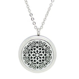 Whimsical Design Aromatherapy Essential Oil Diffuser Necklace - Silver 30mm - Free Chain - Christmas Gift Idea