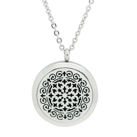 Whimsical Design Aromatherapy Essential Oil Diffuser Necklace - Silver 30mm - Free Chain - Christmas Gift