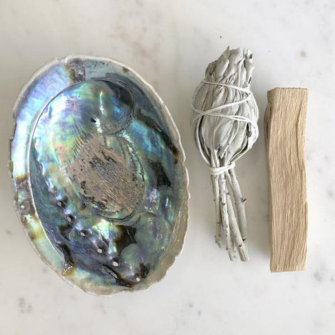 Smudge Pack - Polished Abalone Shell, White Sage and Palo Santo