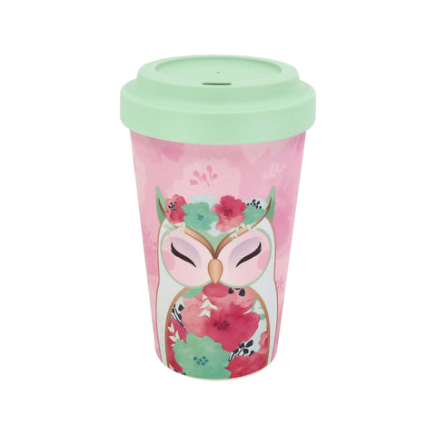 HOPE - Owl ECO Friendly Bamboo Travel Mug - Wise Wings - Gift idea