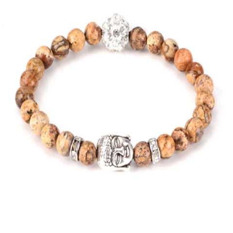 Buddha Head Healing Gemstone Yoga Bracelet - with Swarovski Element Crystals - Gift Idea