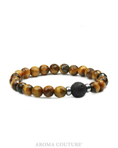 Child's Tiger's Eye and Lava Aromatherapy Diffuser Bracelet - Handcrafted - Luck, Centering and Protection