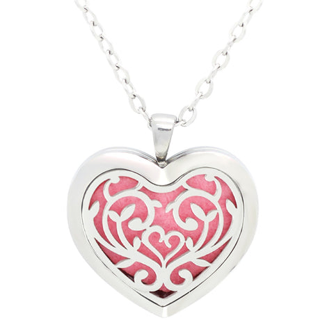Filigree Floral Heart Design Aromatherapy Essential Oil Diffuser Necklace Silver - Free Chain - Christmas Gift