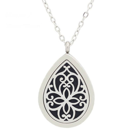 Tear Drop Diffuser Necklace Silver - Free Chain