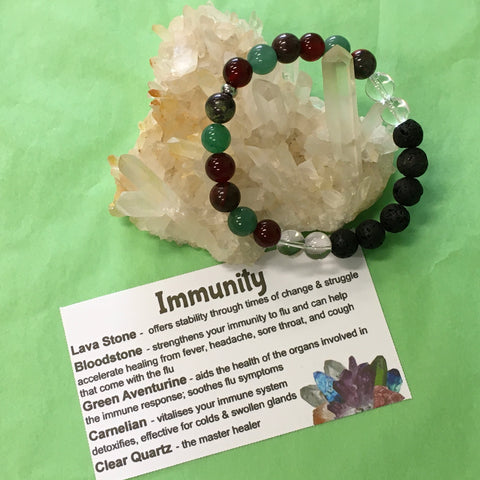 Immunity, Cold and Flu Fighter Healing Crystal Gemstone and Lava Beads Bracelet - Aromatherapy Diffuser - Handcrafted