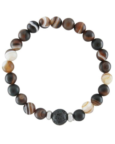 Mens Sardonyx and Lava Stone Aromatherapy Diffuser Bracelet - Protection and Confidence - Father's Day Gift Idea