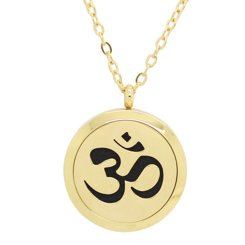 Sanskrit Om Design Aromatherapy Essential Oil Diffuser Necklace - 14k Gold Plate - Free Chain - Gift Idea