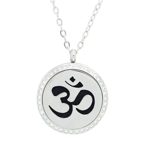 Sanskrit Om Design Aromatherapy Essential Oil Diffuser Necklace with Crystals - Silver 20mm - Free Chain - Gift Idea
