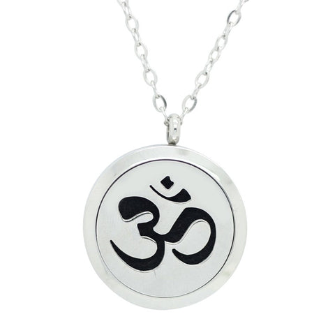 Sanskrit Om Design Aromatherapy Essential Oil Diffuser Necklace Silver - Free Chain
