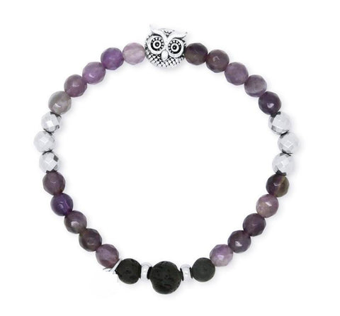 Owl Amethyst and Hematite Lava Aromatherapy Diffuser Bracelet - Calming, Grounding and Positivity - Valentine's Day Gift