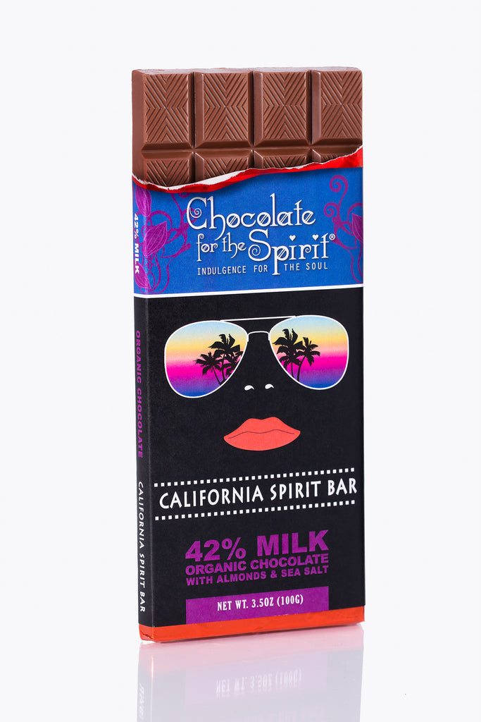 """California Spirit"" Bar 42% Milk Chocolate Grand Cru, single-origin - ORGANIC (Dominican)"
