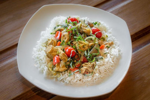 Just Add Meat Meal Kit (2 Servings): Basil Curry Chicken & Tomatoes Over Basmati Rice