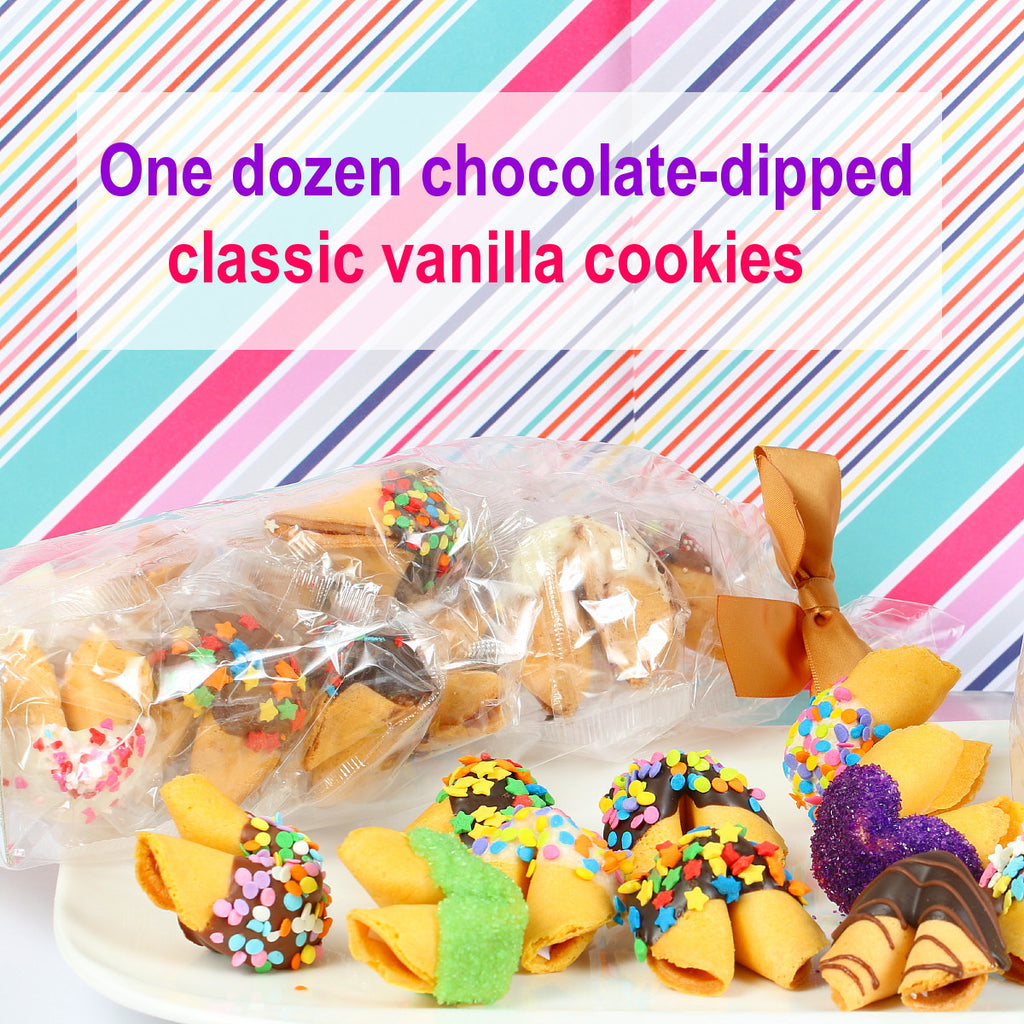 12 Chocolate dipped fortune cookies Individually wrapped
