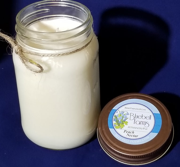 16 oz Peach Nectar Mason Jar Soy Candle