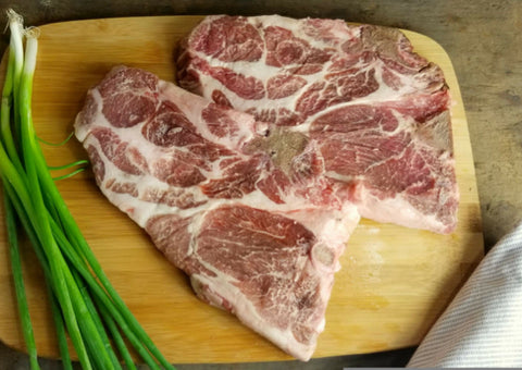 Pork Shoulder Steaks - 3 lb Avg. - 2 Steaks per package.  Forest Raised - GMO Free Pork