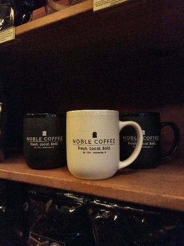 Noble Coffee & Tea - White Logo Mug, 16oz