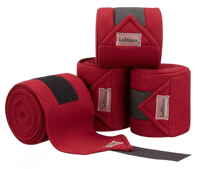LeMieux Luxury Polo Bandages Full (Set of 4) / Burgundy - Eqclusive  - 9
