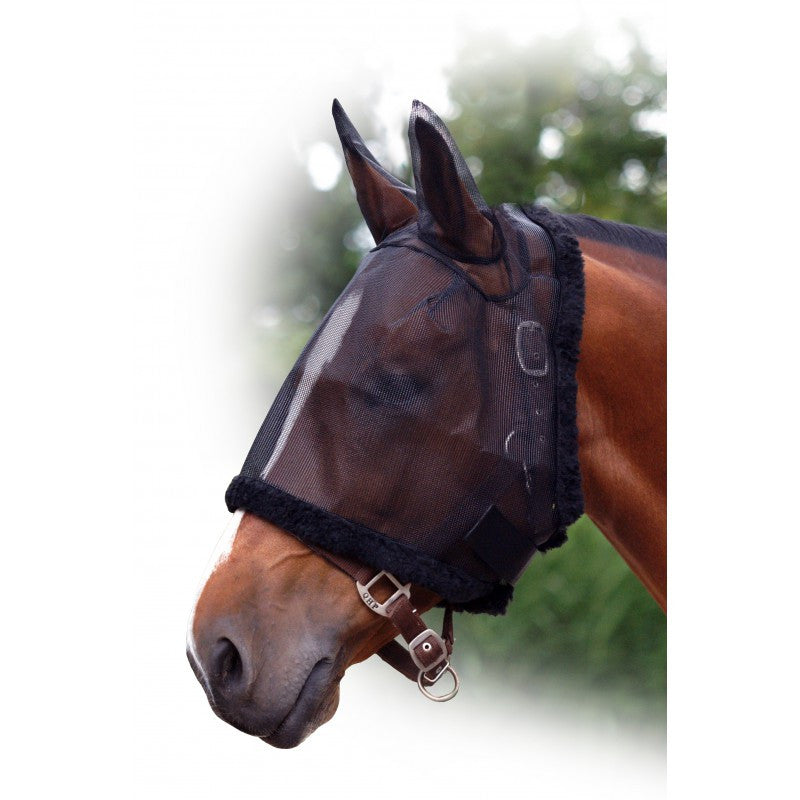 QHP Fly Mask with Ear Protection Foal / Black - Eqclusive