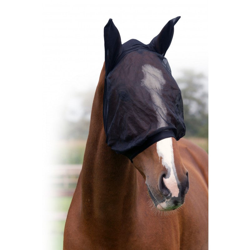 QHP Fly Mask With Ear Protection Fine Shetland / Black - Eqclusive