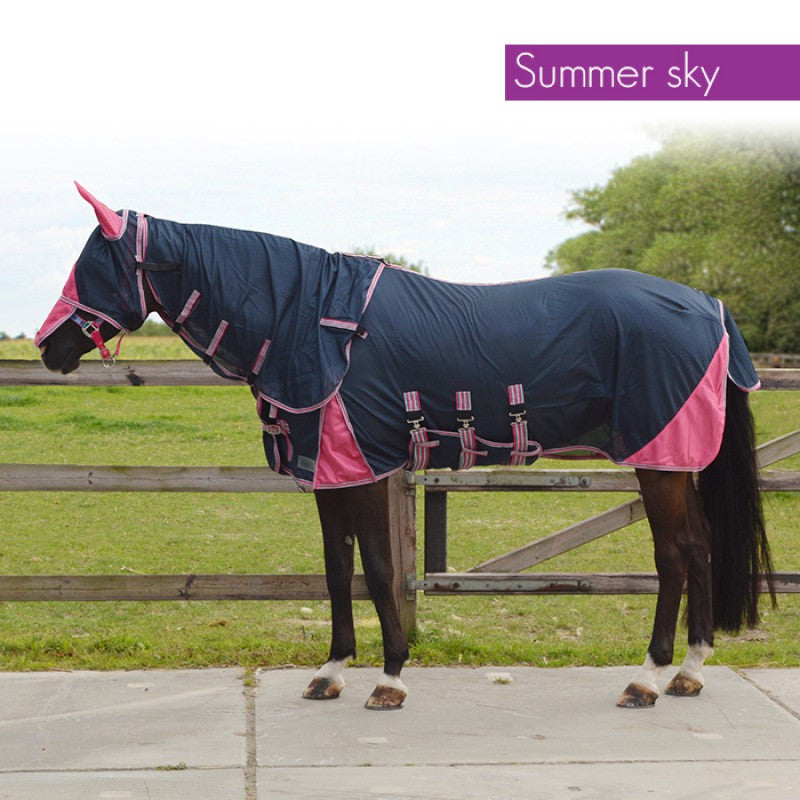 QHP Anti-Fly Rug with Neck and Hood 125 / Summer Sky - Eqclusive  - 5