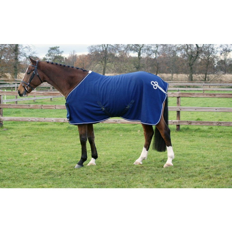 QHP  Fleece Rug with Ornament 145 / Blue/Silver - Eqclusive  - 1