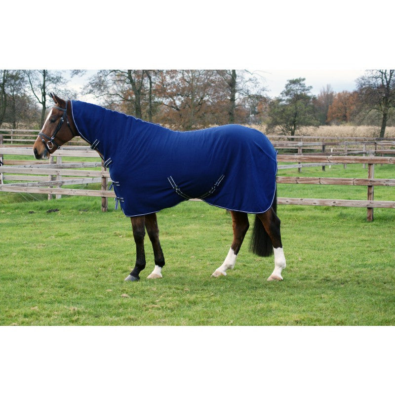 QHP Fleece Rug Basic with Neck 145 / Blue - Eqclusive  - 1