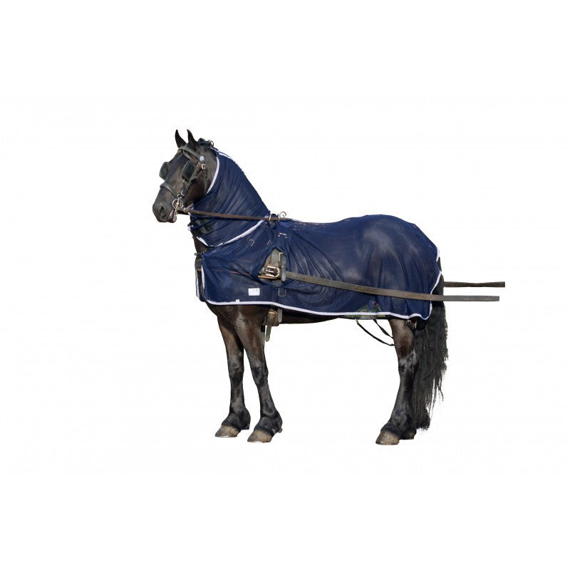 QHP Fly driving rug with neck cover 145 / Navy - Eqclusive  - 1