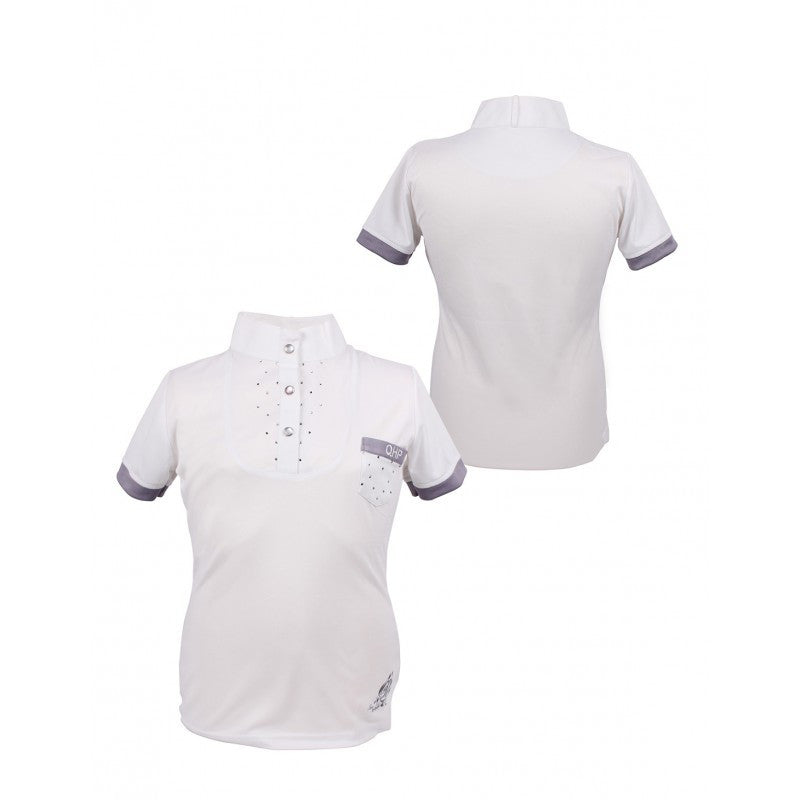 QHP Competition shirt Junior Pearl 116 / White - Eqclusive  - 1