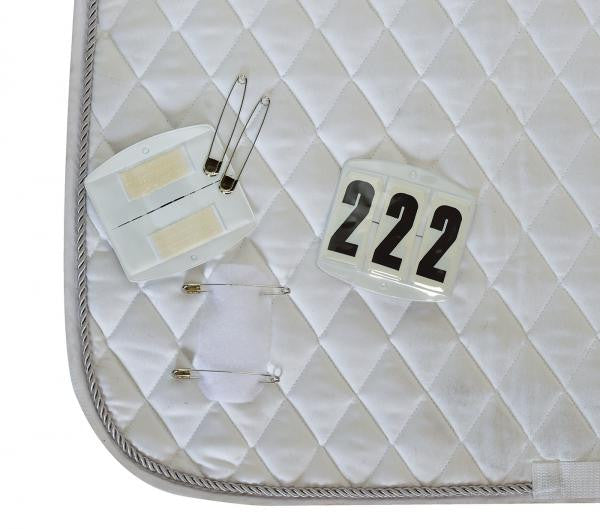 BUSSE Competition Numbers ECKIG, Velcro and Safety Pin 3-digits / White - Eqclusive