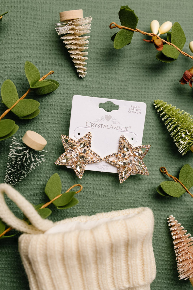 Tree Topper Star Earrings in Gold
