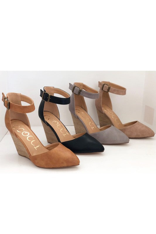 Abigail Wedge Heel - Black, Taupe, Grey