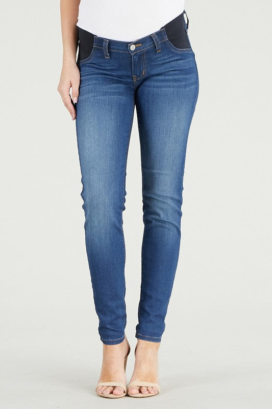 DJ dark denim skinny maternity jeans