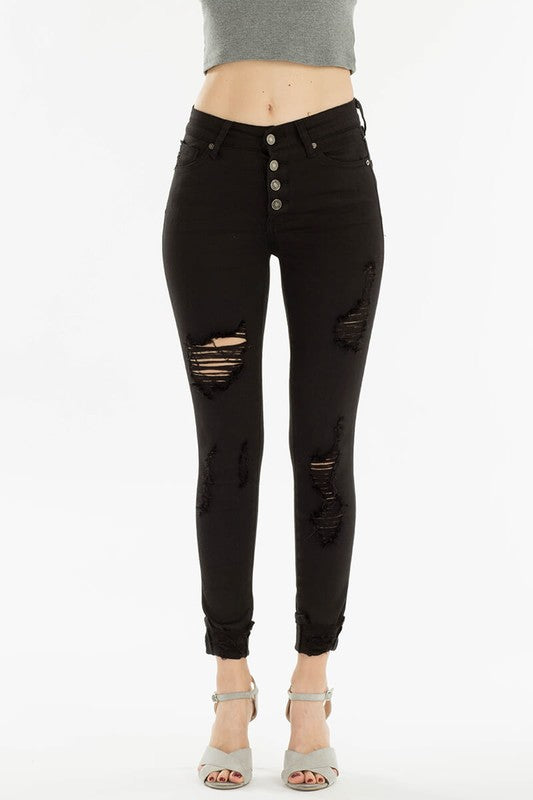 high rise skinny - black distressed