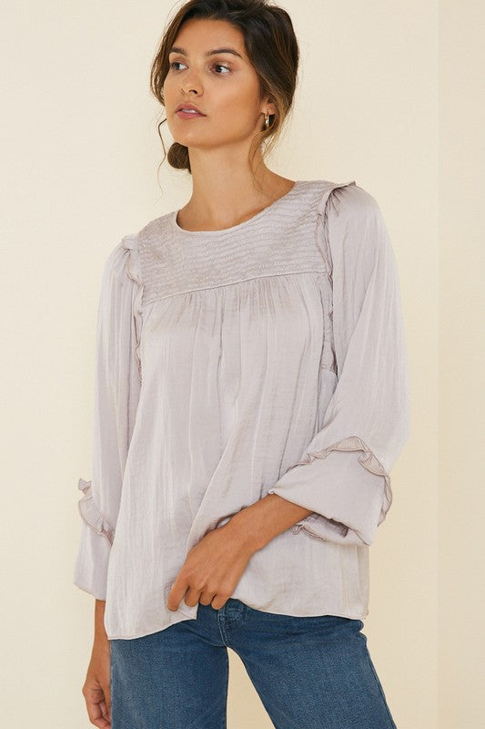 rushed ruffle sleeve top