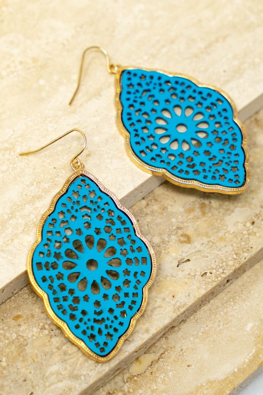 Filigree leather earrings