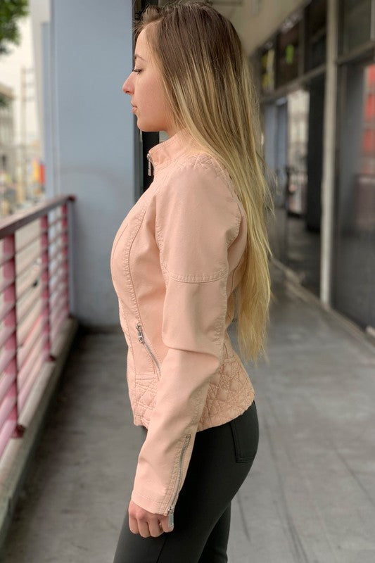 Blush Pink Leather Motto