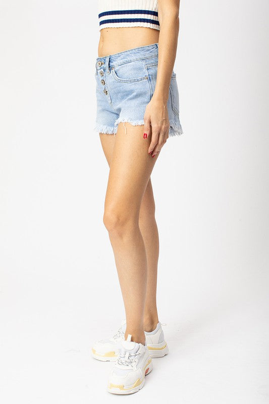 Crystal Button Front shorts